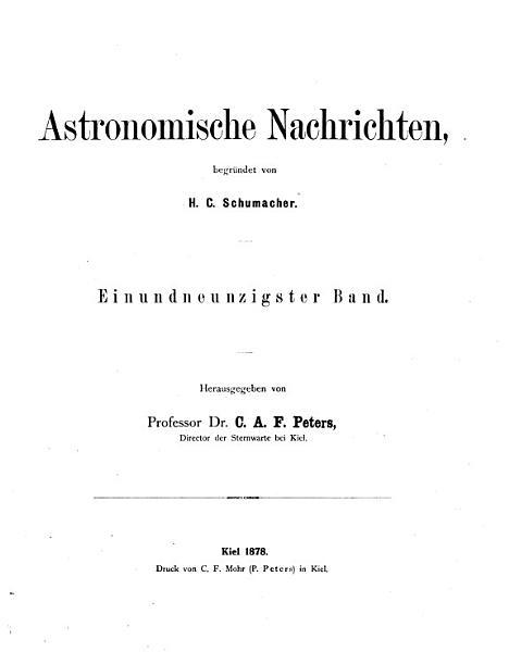 Download Astronomische Nachrichten Book