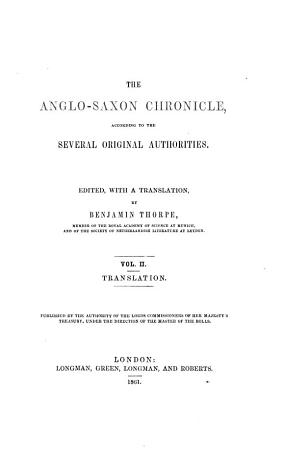 The Anglo Saxon Chronicle  according to the several original authorities PDF
