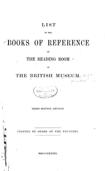 Download A List of the Books of Reference in the Reading Room of the British Museum Book