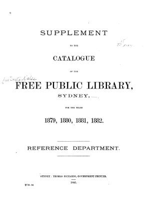Catalogue of the Free Public Library  Sydney  1876 PDF