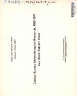 Census Bureau Methodological Research PDF
