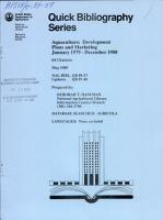 Aquaculture  Development Plans and Marketing January 1979 December 1988 PDF
