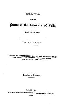 SELECTIONS FROM THE RECORDS OF THE GOVERNMENT OF INIDA PDF