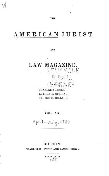 Download The American Jurist and Law Magazine Book