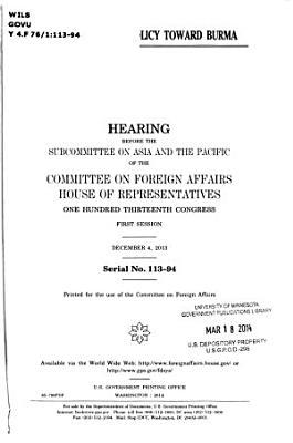 Oversight of U S  Policy Toward Burma PDF