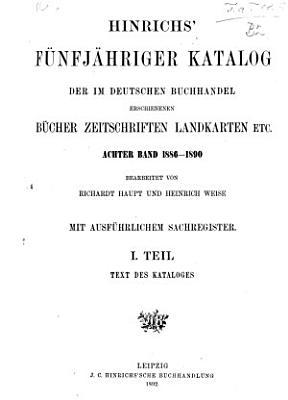 Hinrichs  f  nfj  hriger Katalog Verzeichnis der im deutschen Buchhandel erschienenen B  cher  Zeitschriften  Landkarten etc PDF
