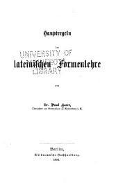 Hauptregeln der lateinischen formenlehre