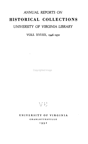 Annual Report on Historical Collections, University of Virginia Library