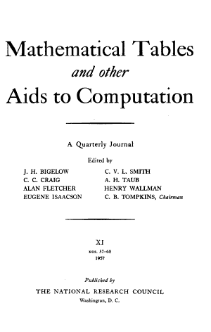 Mathematical Tables and Other Aids to Computation PDF