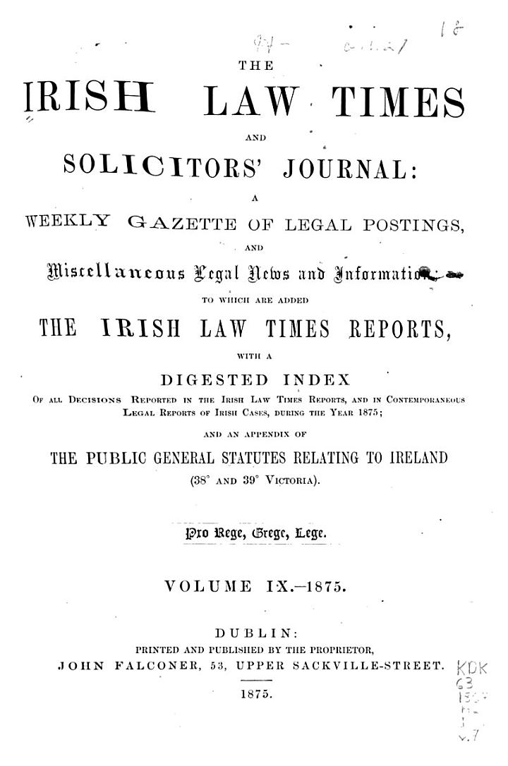 The Irish Law Times and Solicitors' Journal