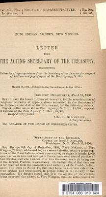 Letter from the Secretary of the Treasury  Transmitting Estimates of Appropriations from the Secretary of the Interior for Support of Indians and Pay of Agent at the Zuni Agency  N  Mex