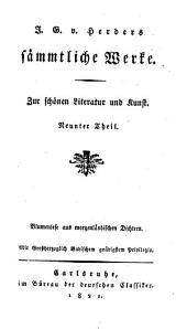 J. G. v. Herders sämmtliche Werke: Zur schönen Literatur und Kunst