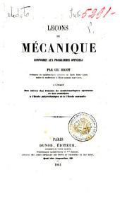 Leçons de mécanique conformes aux programmes officiels