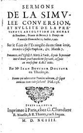 Sermons de la simulée conversion de Henry de Bourbon