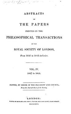 Abstracts of the Papers Printed in the Philosophical Transactions of the Royal Society of London PDF