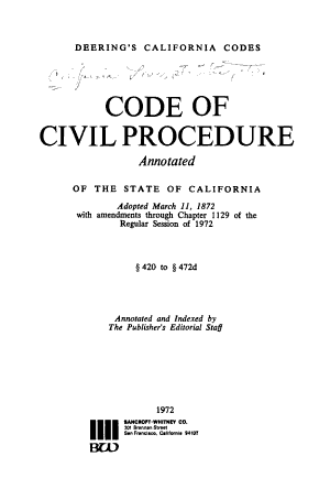 Code of Civil Procedure  Annotated  of the State of California PDF