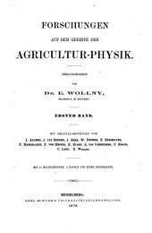 Forschungen Auf Dem Gebiete Der Agricultur-physik ...: Band 1