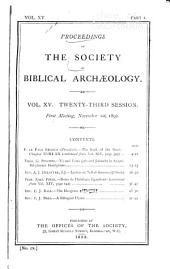 Proceedings of the Society of Biblical Archaeology: Volume 15