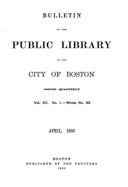 Download Bulletin of the Public Library of the City of Boston Book
