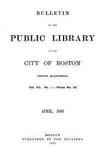 Bulletin of the Public Library of the City of Boston Book