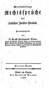 Merkwürdige Rechtssprüche der Hallischen Juristen-Facultät: Band 3