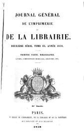 Journal général de l'imprimerie et de la librairie: Volume3,Numéro1