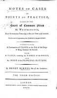 Notes of Cases in Points of Practice  Taken in the Court of Common Pleas at Westminister PDF
