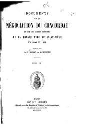 Documents sur la négociation du concordat et sur les autres rapports de la France avec le Saint-Siège en 1800 et 1801: Volume3