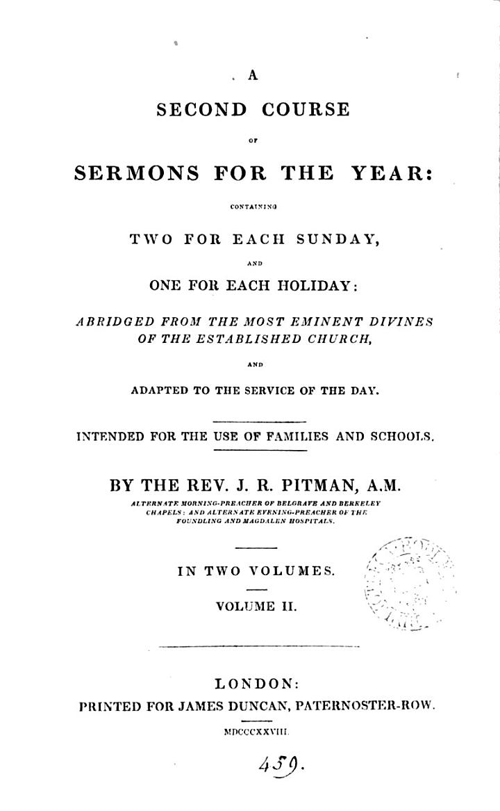 A second course of sermons for the year, abridged from the most eminent divines of the established Church
