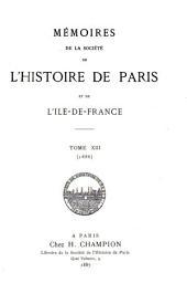Mémoires de la Société de l'histoire de Paris et de l'Île-de-France: Volume13