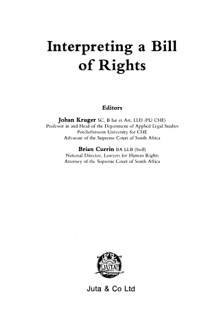 Interpreting a Bill of Rights PDF