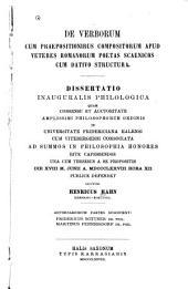 De verborum cum praepositionibus compositorum apud veteres Romanorum poetas scaenicos cum dativo structura