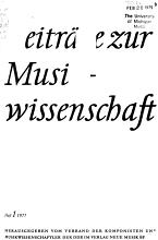 Beitr  ge zur Musikwissenschaft PDF