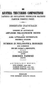 De austera Thucydidis compositione quatenus ex copulatione dissimilium orationis partium perspici possit