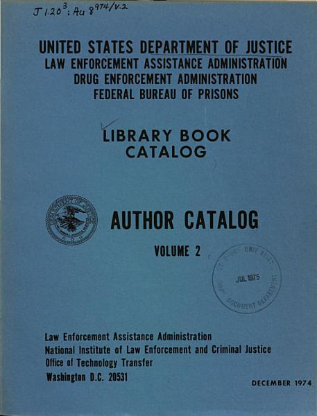 Library Book Catalog  Author Catalog  Volume 2