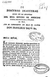 Discurso inaugural leido en la abertura del Real Estudio de Medicina Clinica de Barcelona a 25 de junio de 1801