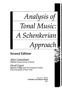 Analysis of Tonal Music Book