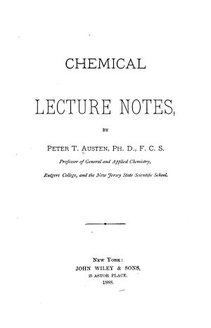 Chemical Lecture Notes