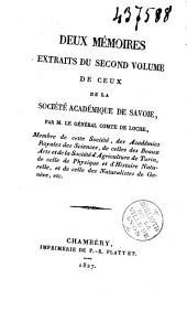 Deux mémoires extraits du second volume de ceux de la Société Académique de Savoie