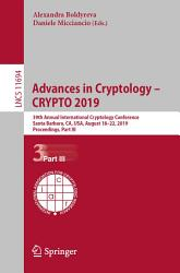 Advances In Cryptology Crypto 2019 Book PDF