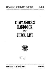 Commander s Handbook and Checklist