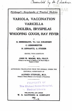 Variola, Vaccination, Varicella, Cholera, Erysipelas, Whooping Cough, Hay Fever