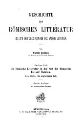 Geschichte der römischen litteratur bis zum gesetzgebungswerk des kaisers Justinian: Teil 2,Ausgabe 1