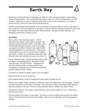 Earth Day Activities PDF