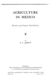 Agriculture in Mexico   Present and Future Possibilities PDF