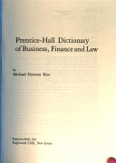Prentice Hall Dictionary of Business  Finance  and Law PDF