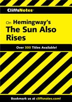 CliffsNotes on Hemingway s The Sun Also Rises PDF