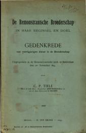 De Remonstrantsche Broederschap in haar beginsel en doel