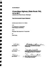 Cross-Base Highway Project, New Roadway Construction Between I-5 at the Thorne Lane Interchange and WA-7 at 176th St. South: Environmental Impact Statement, Volume 1
