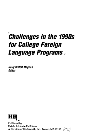 Challenges in the 1990s for College Foreign Language Programs PDF